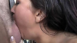 Beautiful Brunette Wraps Her Hands And Lips Around A Big Dick Until It Cums In Her Mouth