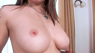 Mona Lee Came For An Audition Today! This Sweet Babe Willingly Takes Us Her Bra To Show Me Her Really Big And Really Natural Boobs! My Old Friend Enters The Room To Test This Babe In The Action!