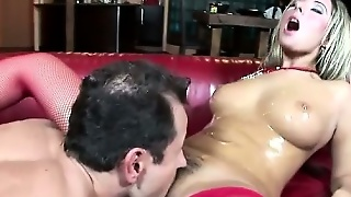 Blonde Covered In Oil And Fucked