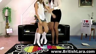 British Milf Voyeur Watches Schoolgirl Lesbians In Stockings
