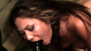 Chained Lezdomsub Strapon Penetrated By Rough Duo