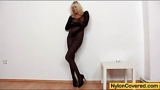 Solo Pantyhose Fetish Porn With Big Tits Blonde