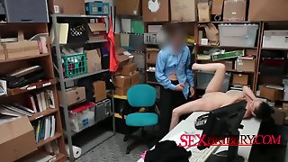 Tiny Titted Shoplyfter Got Fucked In The Office