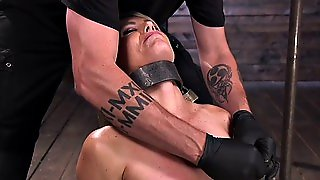 Blonde Cougar Strapped And Clamped
