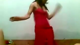 Arab Curly Gal Shows Hot Dance. Homemade Video.