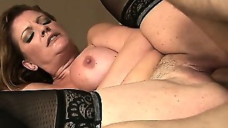Sexy Milf In Lacy Stockings Gets Wrecked By A Young Dude   S Cock