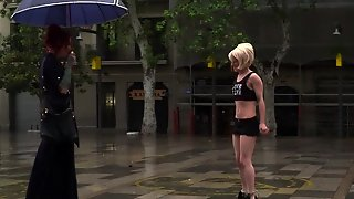Blonde Spinner Humiliated In Public