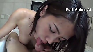 Amateur Japanese Girlfriend With Cute Short Hair Gives Blowjob Uncensored