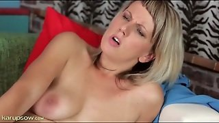 Blonde Strips Off Strapless Dress And Fingers