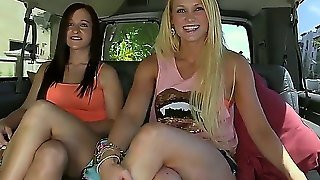 Provocative Long Haired Brunette And Blonde Jordi Jae And Summer Blue In Sexy Booty Shorts Get Lured In The Car By Filthy Dude In Provocative Outdoor Fantasy Filmed In Point Of View
