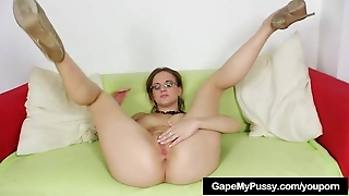 Nasty Babe Spreads Her Pussy With Metal Tool