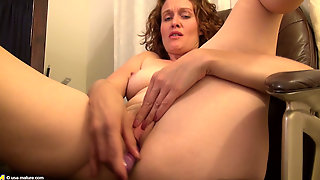 Curly Haired Redhead Milf Masturbating