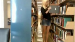 Stunning College Blonde In Library