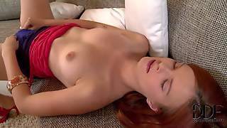 Denisa Is A Red-Haired Cutie Who Plays With Her Wet