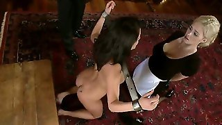 Experienced Submissive Busty Brunette And Blonde Whores Charley Chase And Katie Kox Gets Tied Up, Disciplined And Boned By Dominant Pornstar James Deen In Hot Bondage Roleplay