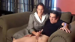 Stepmom Strokes Son's Dick