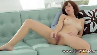 Redhair Dildoing With Gel Dildo