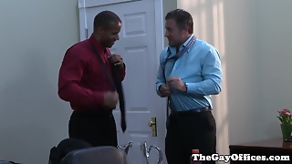 Gay Uniform Ebony Hunk Blows His Load