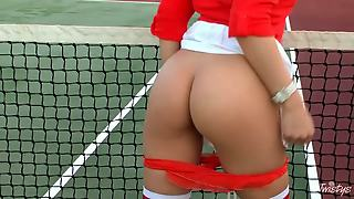 Brown Haired Lovely Tennis Babe Dani Daniels With Perky Tits