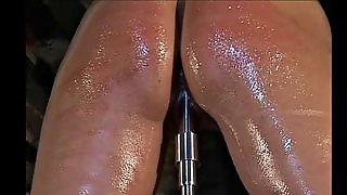 Painful Whipping Of An Oiled Up Blonde Submissive