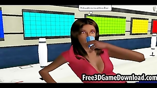 Hot Interracial Lesbian Couple In A 3D Cartoon Animated Game
