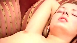 Russian Blonde Bitch Is Pretty Face Is Drilled On The Couch