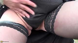 Solo Mature Bbw Outdoors In Stockings