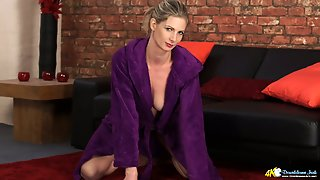 Slender Blonde In Cozy Gown Leah And Her Sweet Looking Tits