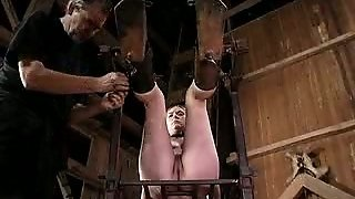 Bounded Bitch With Curvy Shapes Is Tortured In A Barn