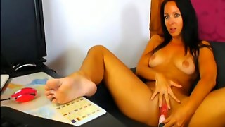 Busty Tanned Babe Toying Her Pussy Hd