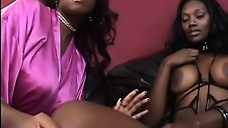 Busty Black Girls Bring Their Lesbians Fantasies To Reality With A Strap-On Dildo