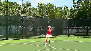 Very Hot Blonde Likes To Play Tennis And Then Have A Dirty Flirting Talk With A Guy