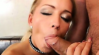 Blonde In Fishnets Sucking Dick