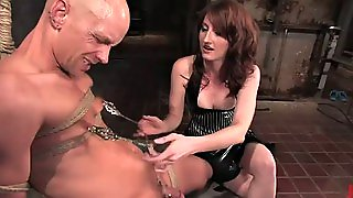 Pegging Action In Femdom Vid For Tied Up Bald Dude