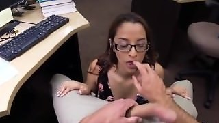 Amateur Cumshot Between Tits College Student Banged In My Pawn Shop!