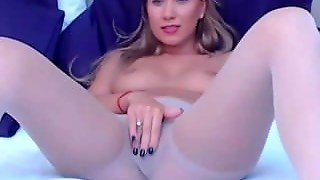 Blonde Milf In Pantyhose Masturbates With Vibrator On Webcam