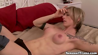 Sensual Bigtitted Shemale Cocksucked