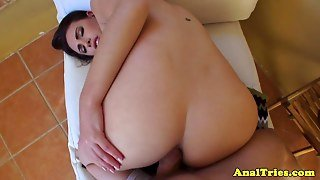 First Anal Time For Amateur Brunette