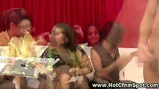 Party Cfnm Femdoms Taunting Amateur