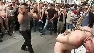 Bound Nude Muscle Slave Guy Flogged On The Street