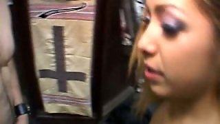 Tanned Chick In Stockings Loves To Give Blowjob In Public