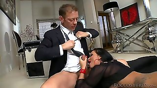 These Two Bombshell Babes Christina Bella And Jessie Volt Are Just Too Hot To Be True! Rocco Siffredi Goes Nuts About Their Sexy Feet In Stockings Before Making Them Suck Him Off!