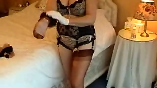 Curvy Mature In Her Lacy Underthings Getting Dressed!