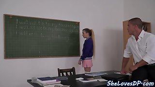 Smalltit Teen Doublepenetrated After Classes
