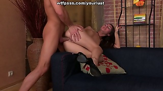 Sexy Teen In Short Jeans Skirt Gets Her Soaking Pussy Fucked In Doggy Position