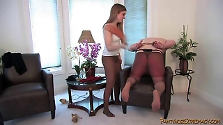 Young Blonde In Pantyhose Dominates Muscleman