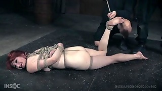 Intricate Rope Bondage For A Cute Redhead