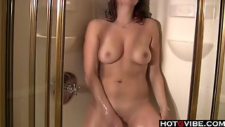 Brunette Plays Solo In The Shower