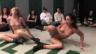 Four Chicks Wrestling And Strapon Fucking