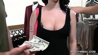 Tit Flashing Cutie Eats Cock On Knees For Cash